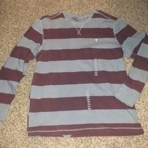 Volcom maroon and blue striped long sleeve